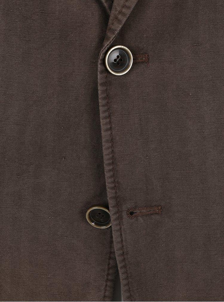 Hnědé lněné sako s kapsami Fynch-Hatton