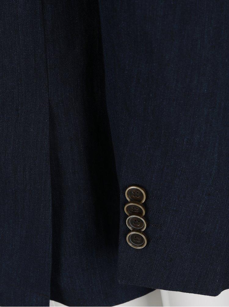 Tmavě modré lněné sako Fynch-Hatton