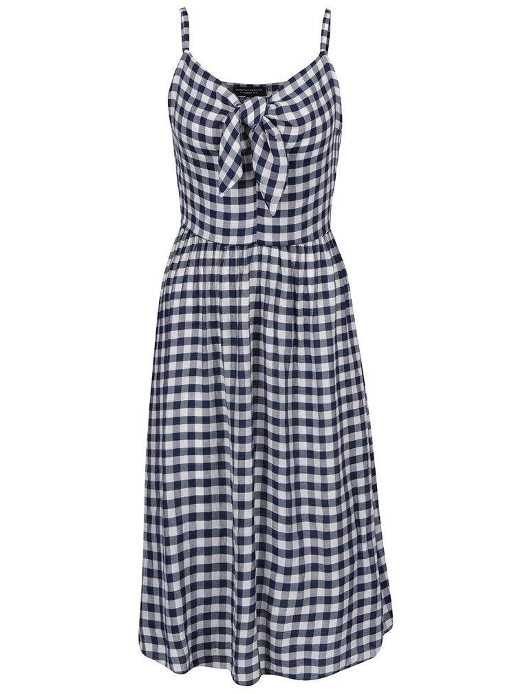 Krémovo-modré kostkované šaty s mašlí Dorothy Perkins