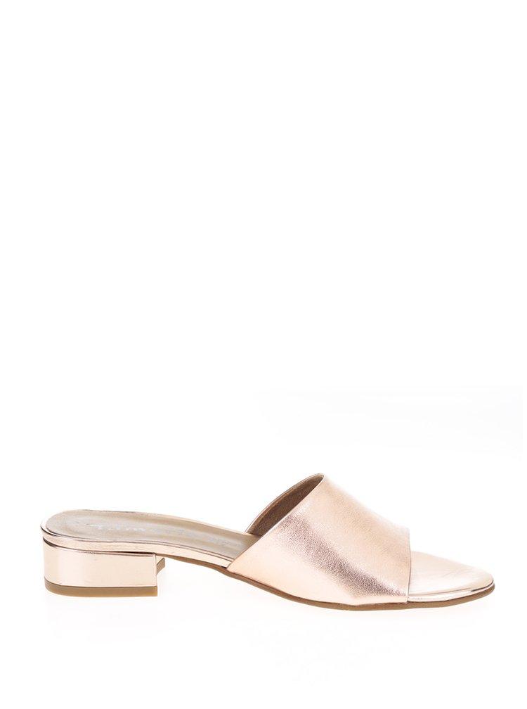 Kožené lesklé pantofle v růžovozlaté barvě Tamaris