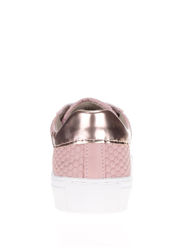 Pantofi sport roz cu model în relief Tamaris