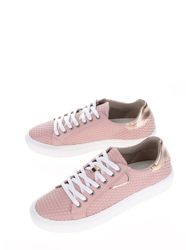 Růžové strukturované tenisky Tamaris