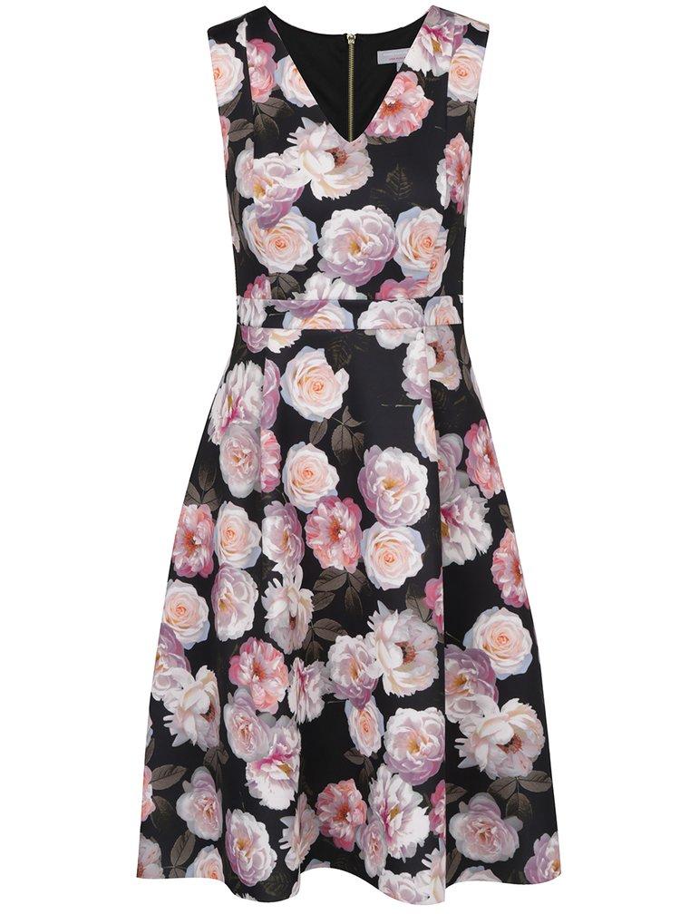 Růžovo-černé šaty s potiskem růží Dorothy Perkins Petite