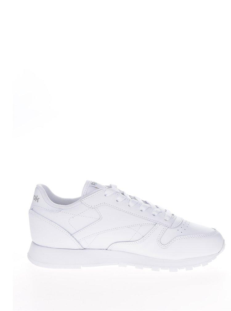 Biele dámske kožené tenisky s tvarovanou podrážkou Reebok Classic