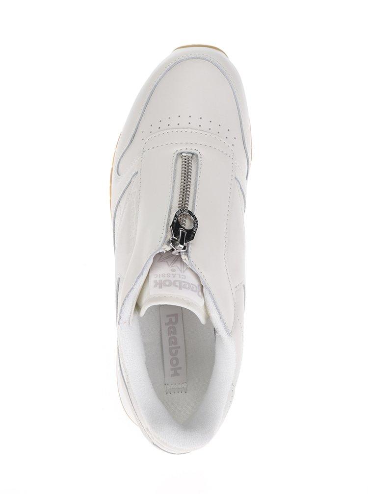 Krémové dámské kožené tenisky se zipem ve stříbrné barvě Reebok