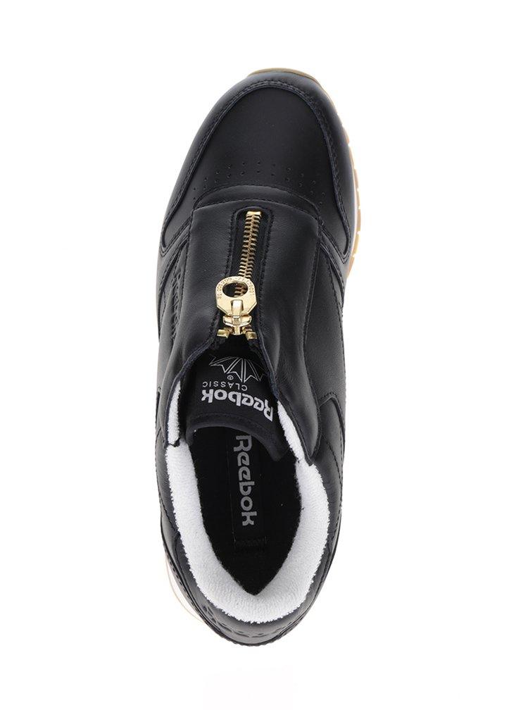 Černé dámské kožené tenisky se zipem ve zlaté barvě Reebok