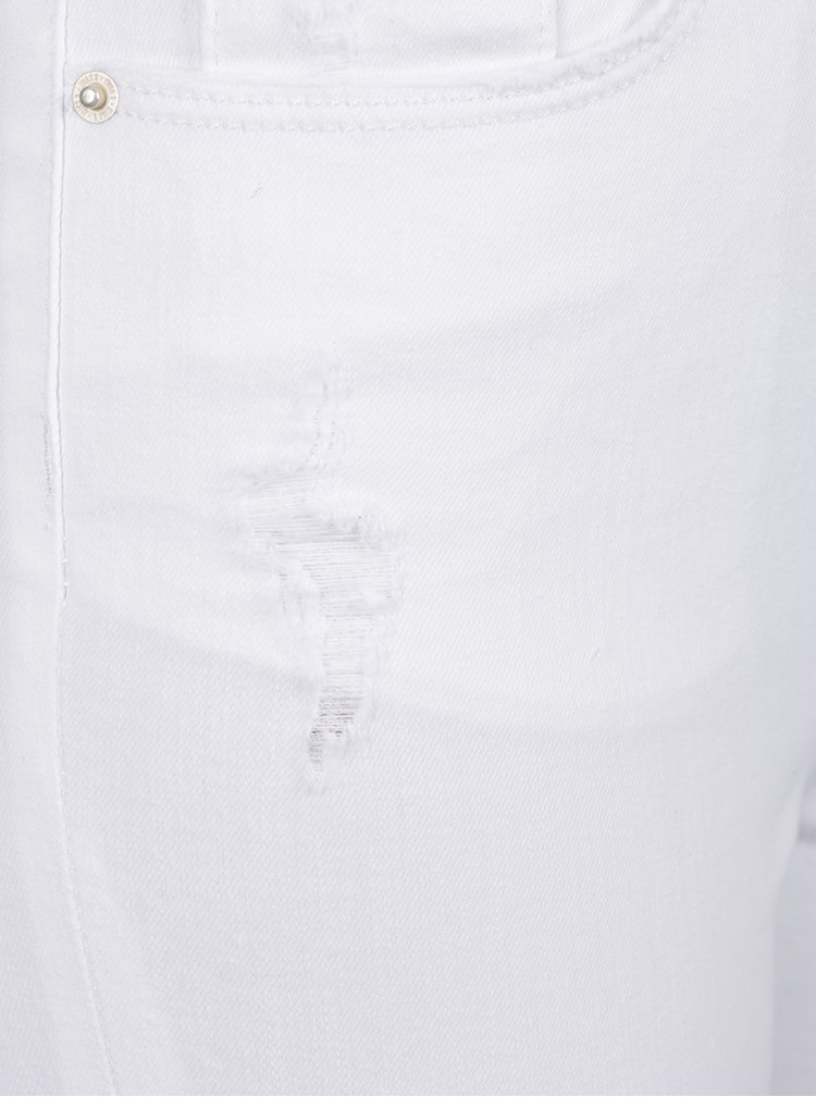 Bílé skinny džíny s potrhaným efektem Miss Selfridge