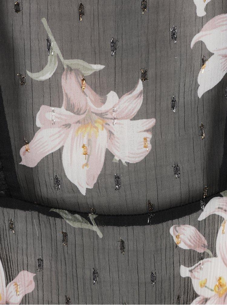 Černá květovaná průsvitná halenka Miss Selfridge