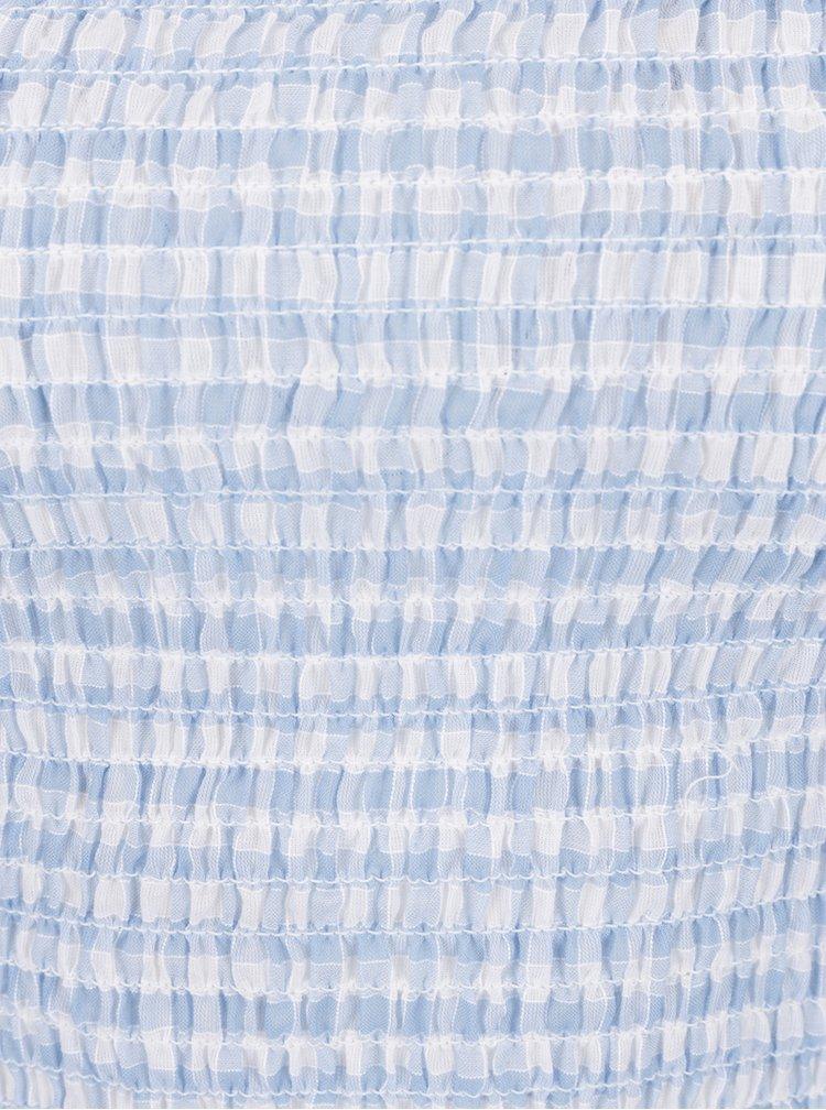 Světle modrý kostkovaný crop top  Miss Selfridge
