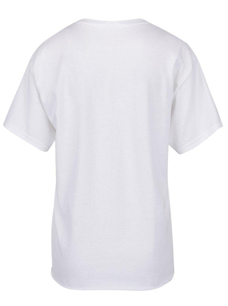 Bílé tričko s potiskem a nášivkou Miss Selfridge