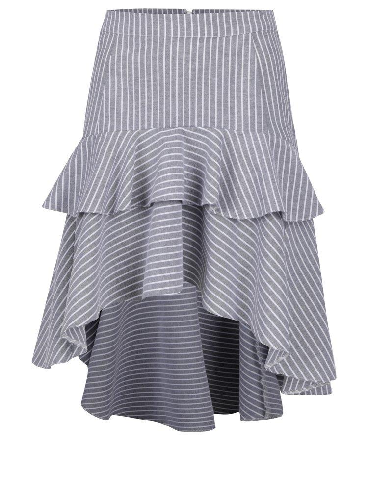Šedá pruhovaná sukně s prodlouženou zadní částí Miss Selfridge