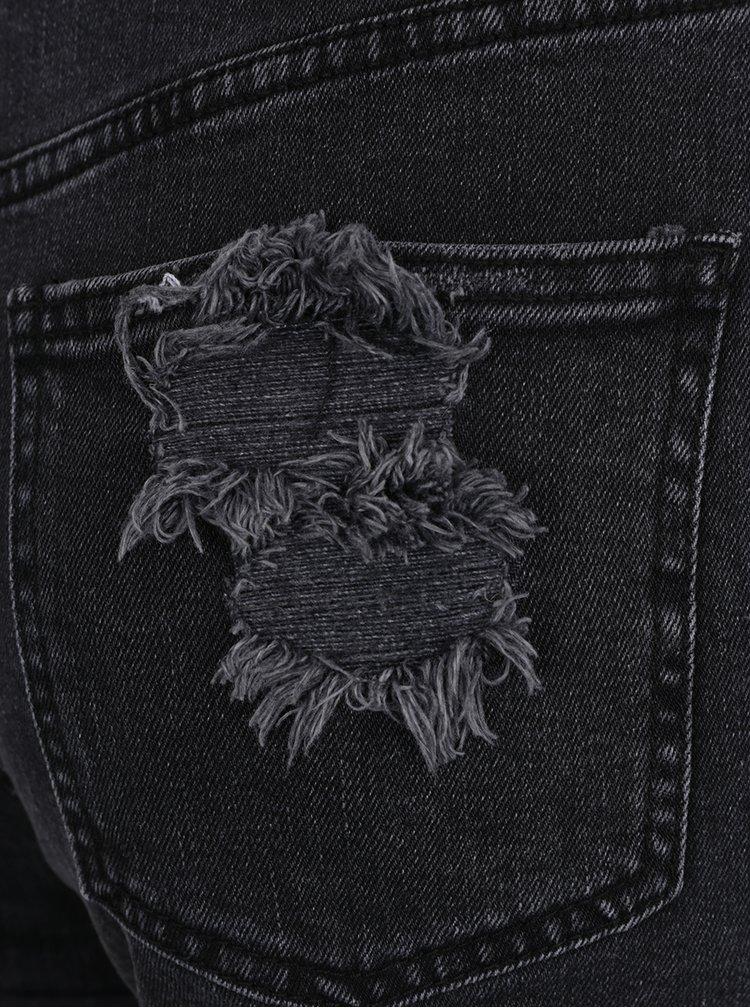Pantaloni scurți negri din denim cu detalii franjurate Miss Selfridge