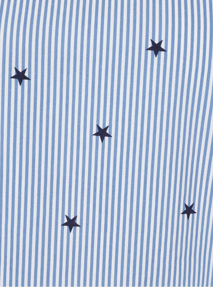 Modrá vzorovaná halenka s volánem Miss Selfridge Petites
