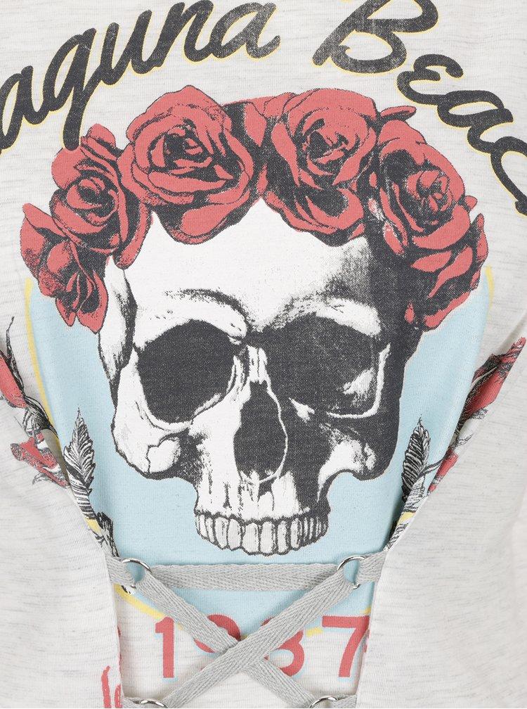 Šedé žíhané dlouhé tričko s potiskem Miss Selfridge