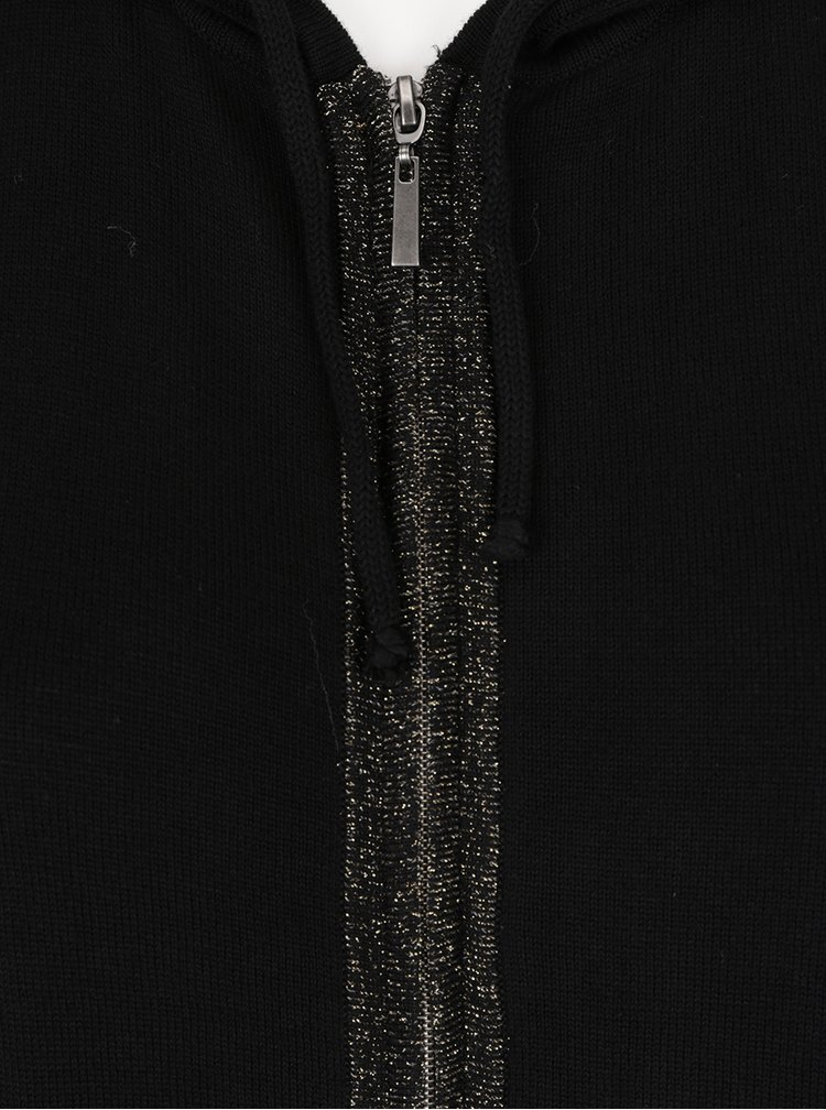 Černé kimono na zip s kapucí Ulla Popken