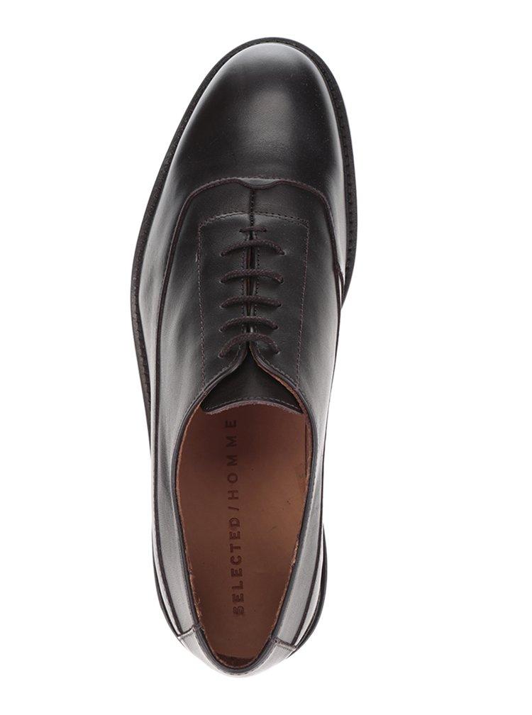 Pantofi negri din piele Selected Homme Baxter Oxford
