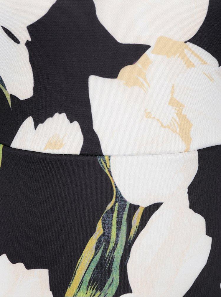 Rochie neagra cu flori AX Paris si decolteu pe umeri
