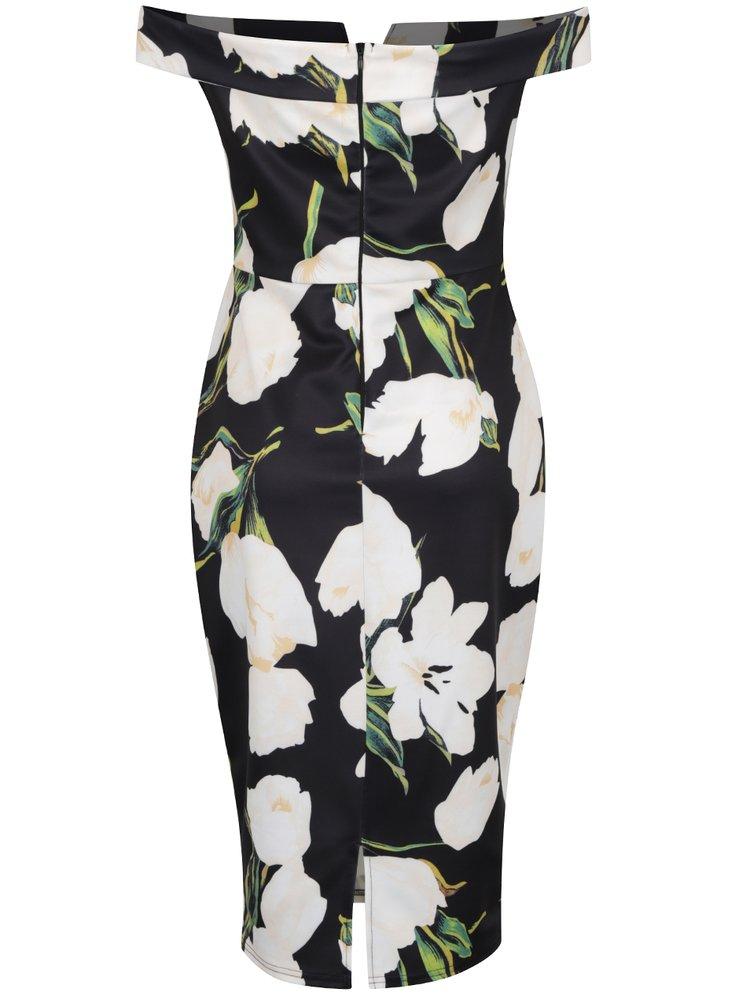 Černé květované šaty s odhalenými rameny AX Paris
