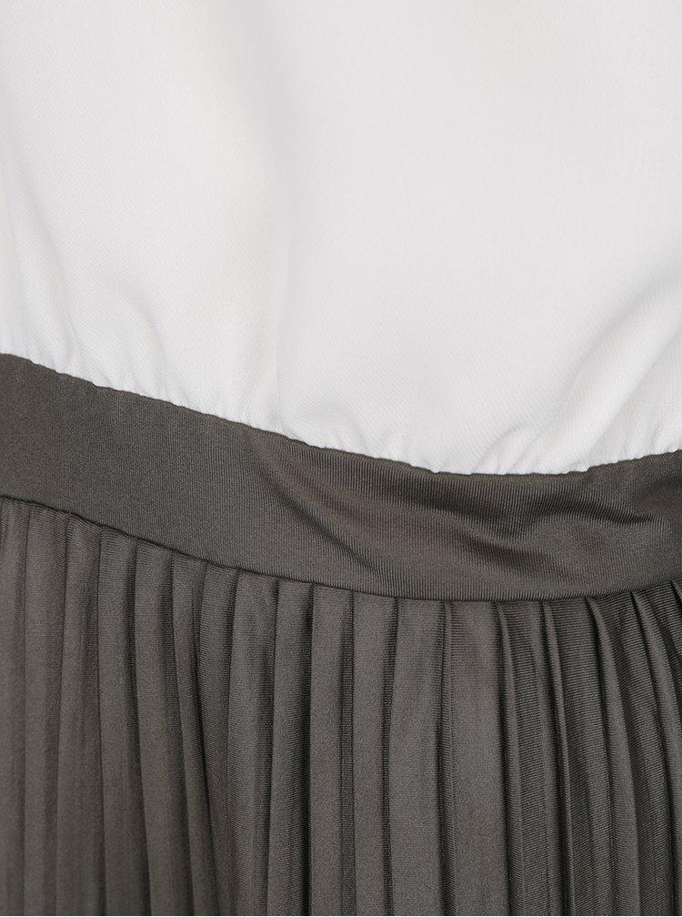 Krémovo-zelené šaty s plisovanou sukní AX Paris