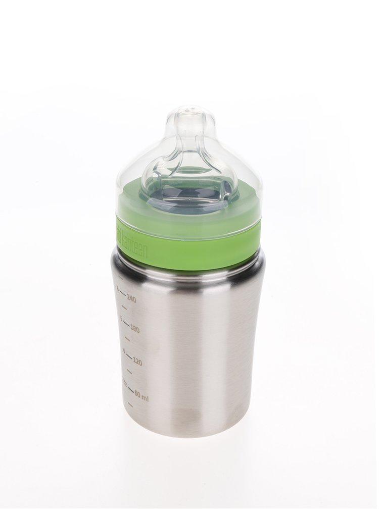 Kojenecká nerezová lahev ve stříbrné barvě Klean Kanteen KidBaby 267 ml