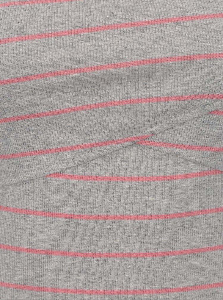 Tricou gri cu dungi roz ONLY Claudia