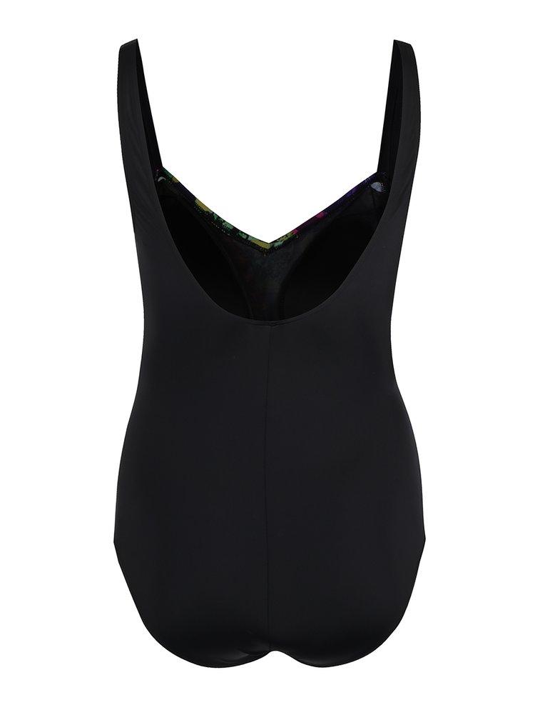 Černé jednodílné květované plavky Ulla Popken