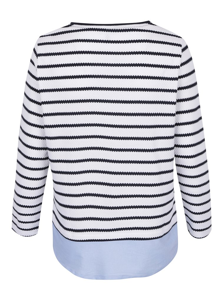 Modro-bílý pruhovaný svetr s všitým dílem Ulla Popken