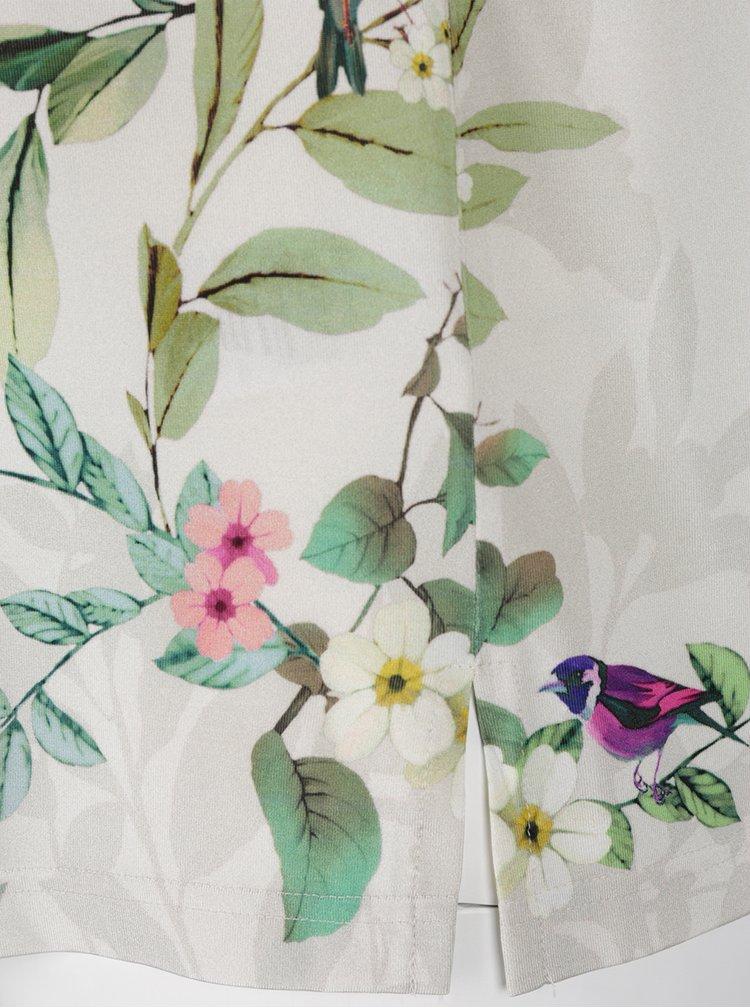 Bluza gri deschis Ulla Popken  cu print floral