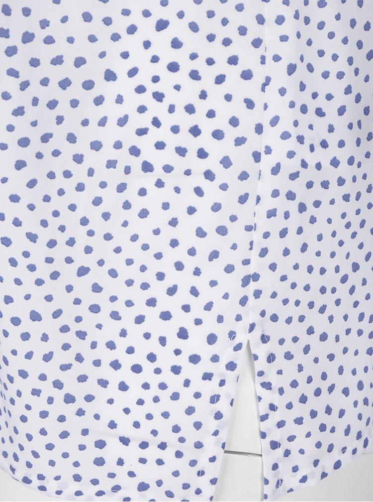 Modro-bílá vzorovaná halenka s véčkovým výstřihem Ulla Popken
