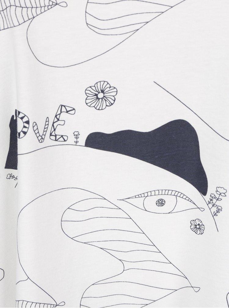 Tricou crem Ulla Popken  model abstract