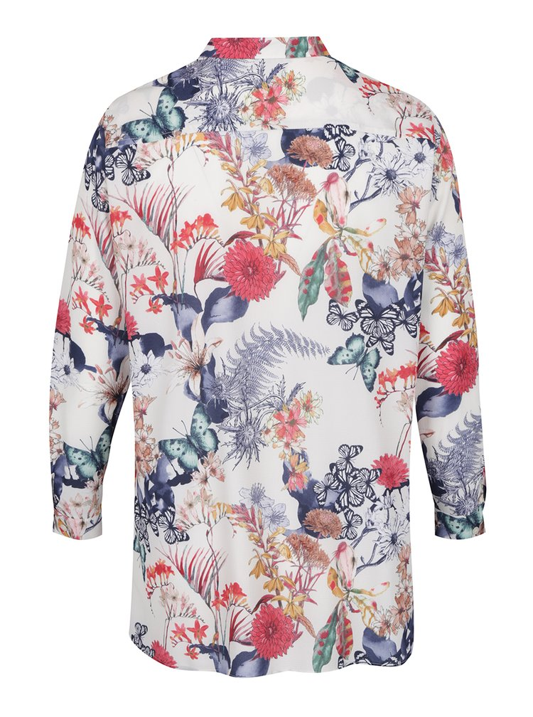 Cămașă crem  Ulla Popken  și print floral