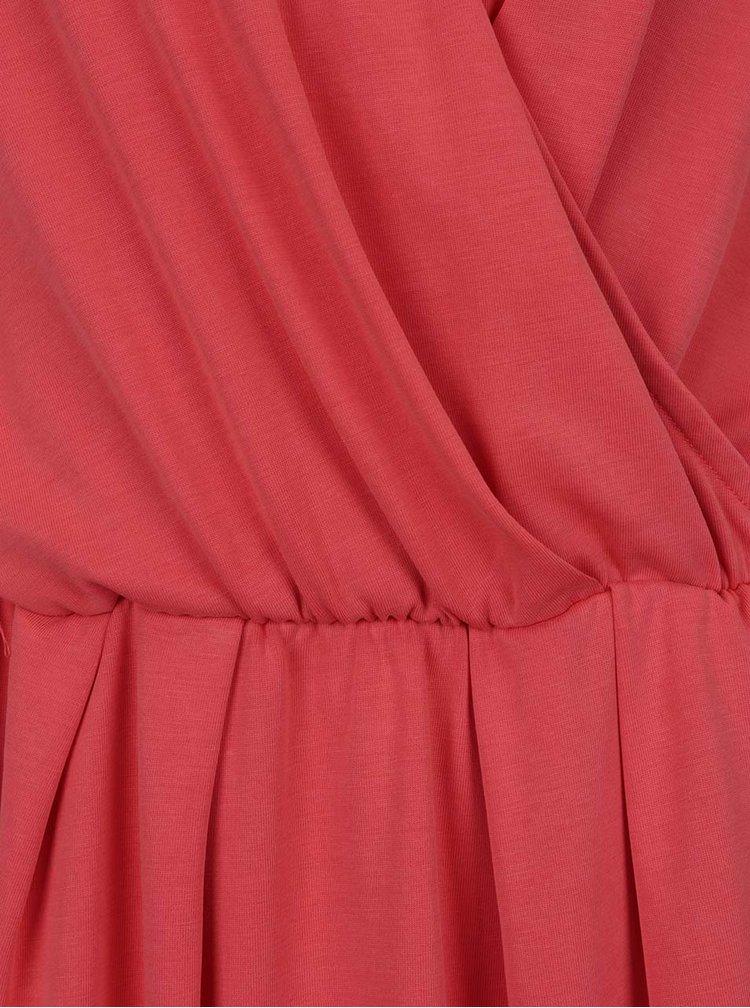 Korálové šaty s překládaným výstřihem VERO MODA Metti
