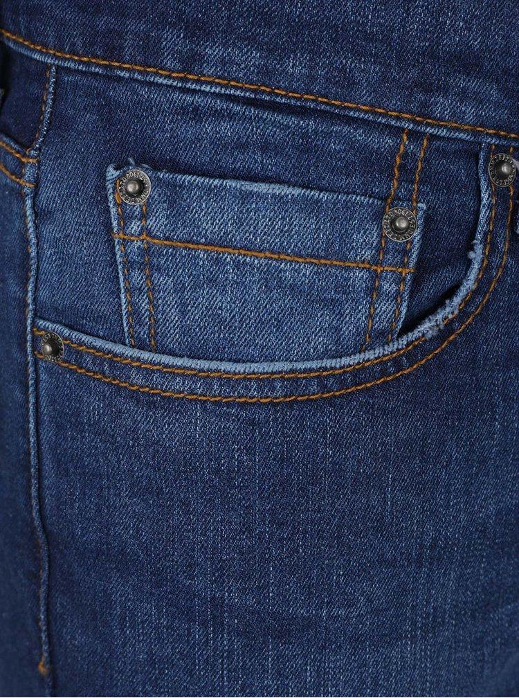 Modré strečové skinny džíny s vyšisovaným efektem Burton Menswear London