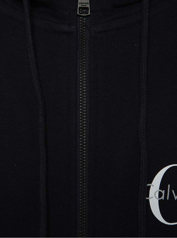Tmavomodrá pánska mikina na zips Calvin Klein Jeans