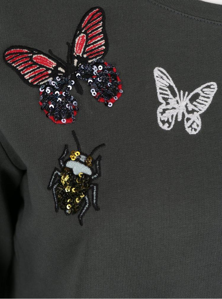 Tmavě zelená mikina s nášivkami motýlů a brouků Ulla Popken