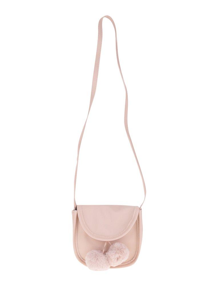 Světle růžová holčičí crossbody kabelka s bambulemi name it Acc