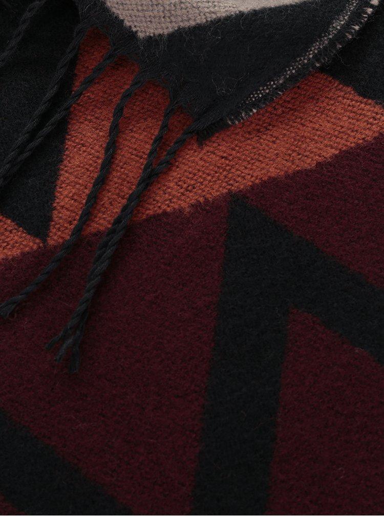Vínovo-černá vzorovaná šála s třásněmi Pieces Jasy