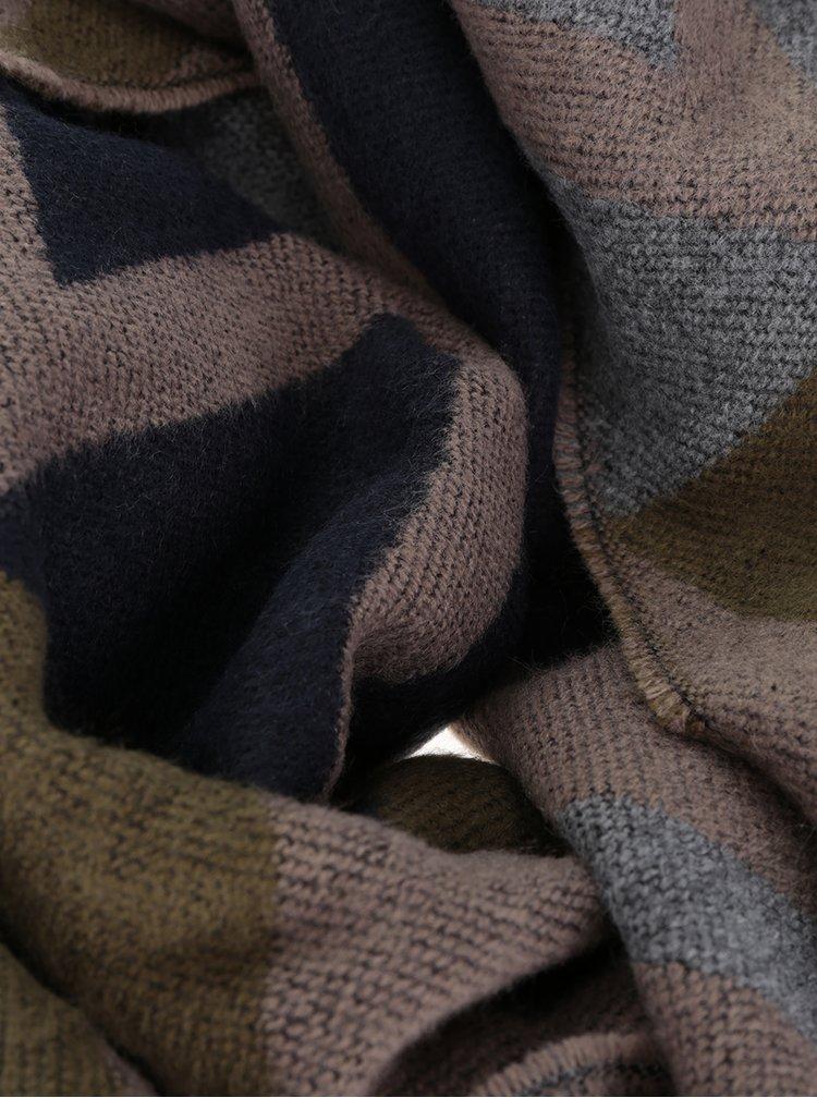 Šedo-béžová vzorovaná šála s třásněmi Pieces Jasy