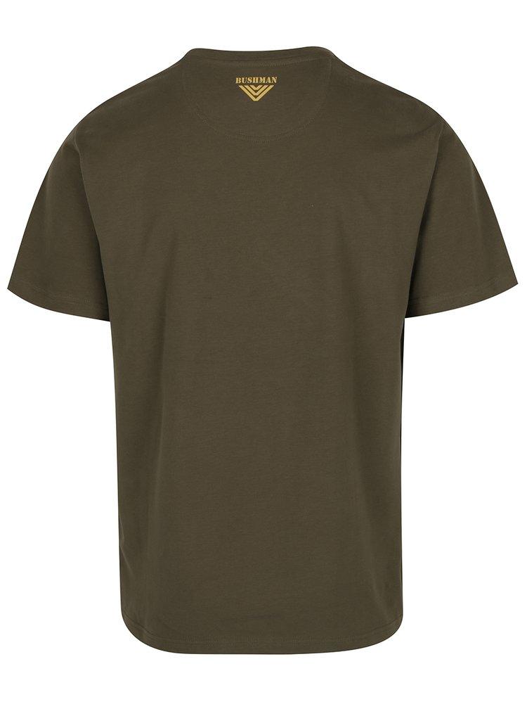 Tmavě zelené pánské triko s potiskem BUSHMAN Yoakum