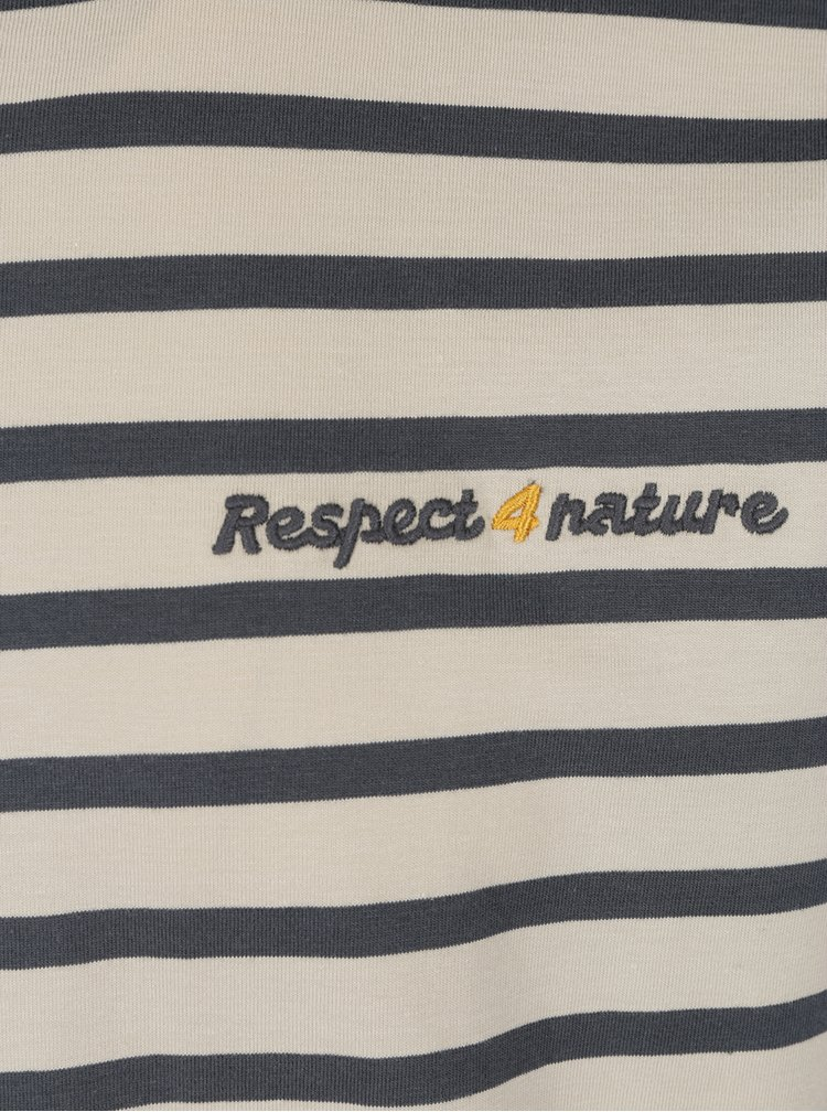 Šedo-béžové pánské pruhované triko s dlouhým rukávem BUSHMAN Brady