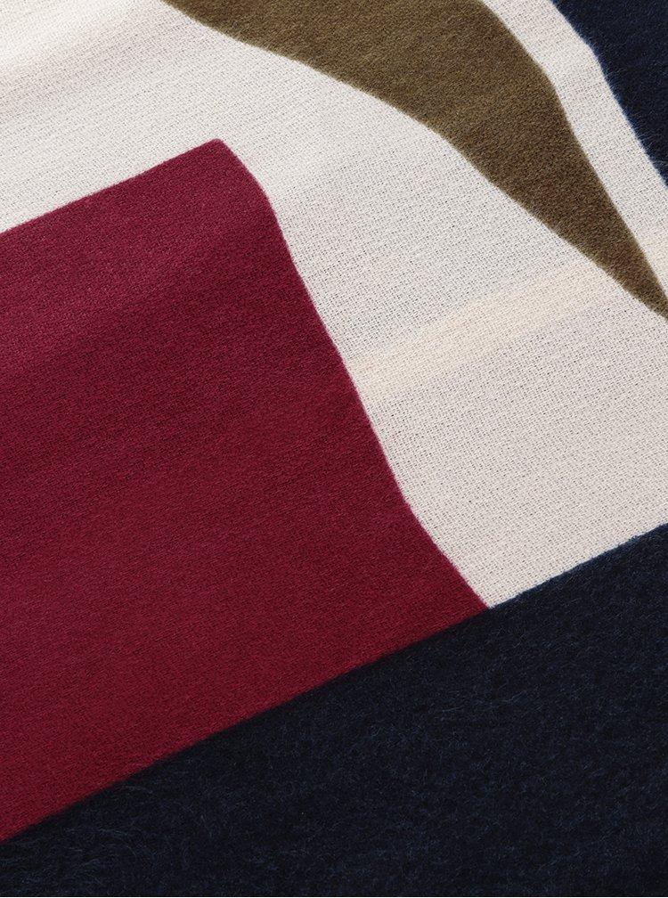 Esarfă multicolora cu print grafic și franjuri Pieces Jorun