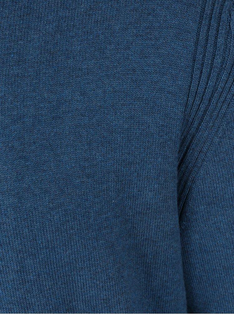 Pulover albastru cu decolteu en coeur BUSHMAN Freer
