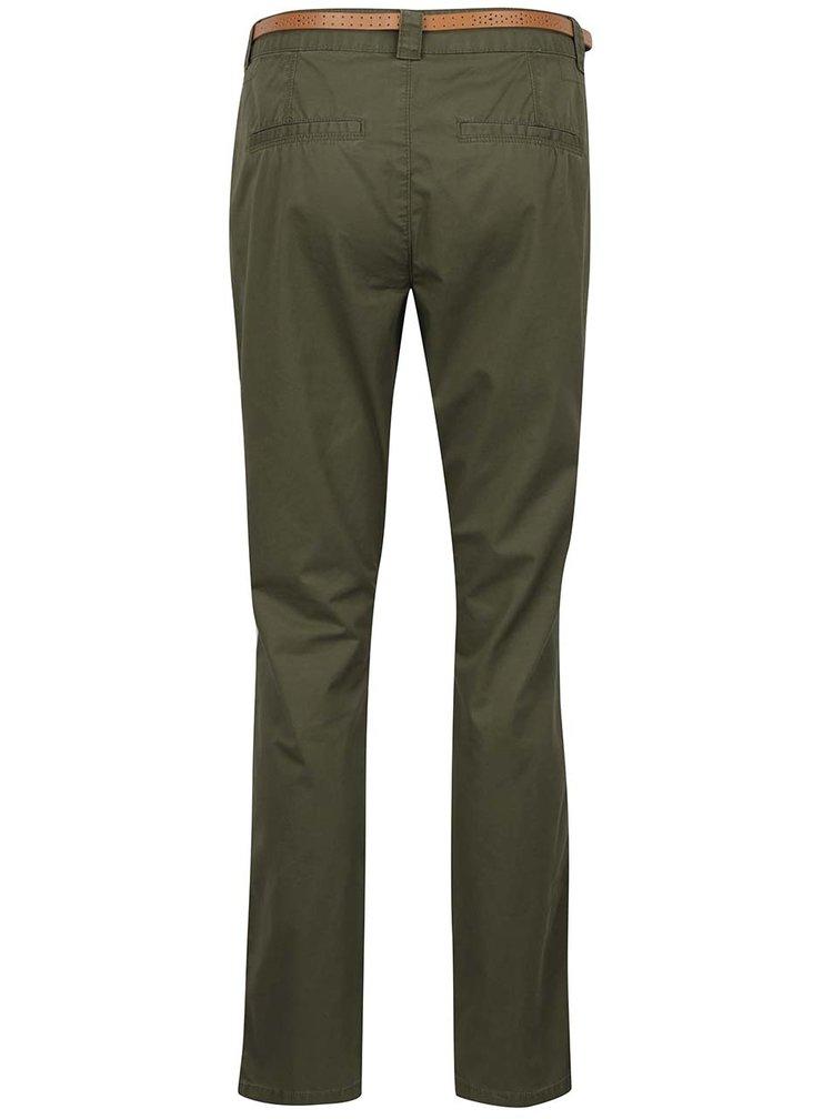 Zelené chino kalhoty s páskem VERO MODA Boni