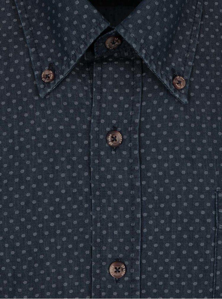 Tmavě modrá puntíkovaná košile s krátkým rukávem JP 1880