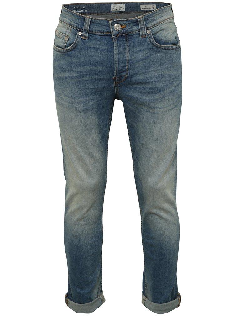 Modré džíny s vyšisovaným efektem Only & Sons Loom