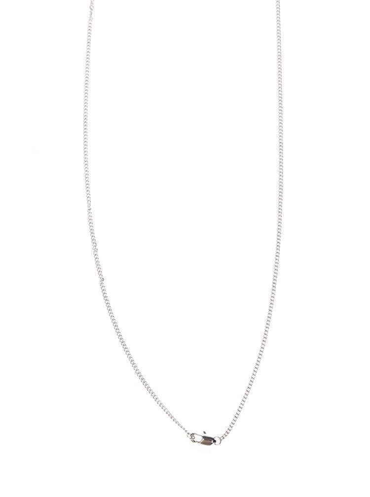 Řetízek s přívěskem ve stříbrné barvě s černým kamínkem Pieces Noma