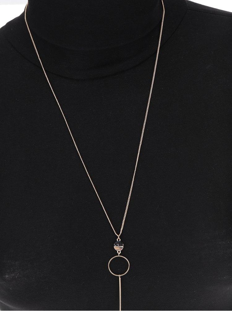 Řetízek s přívěskem ve zlaté barvě s černým kamínkem Pieces Noma
