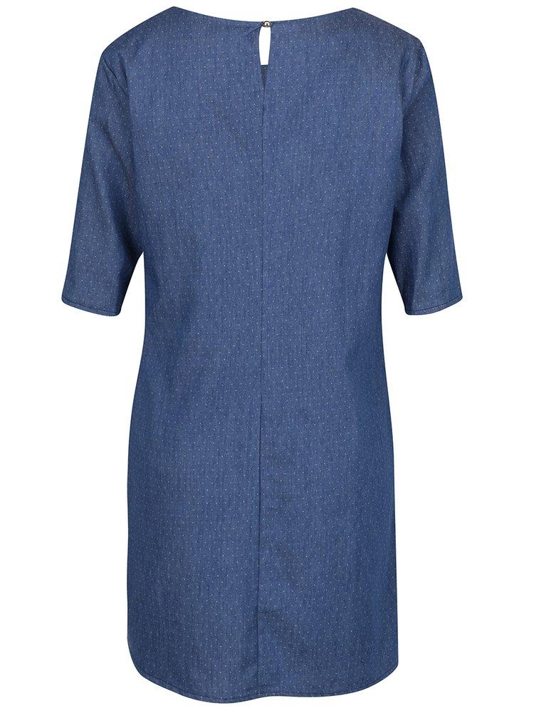Rochie albastru inchis din denim cu buline ZOOT