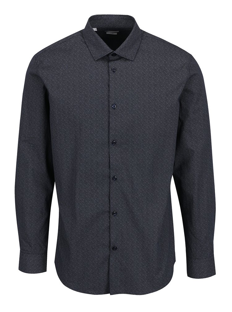 Camasa bleumarin cu print si maneca lunga  Selected Homme One New