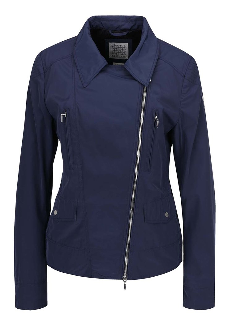 Modrá dámská lehká voděodolná bunda s kapsami Geox